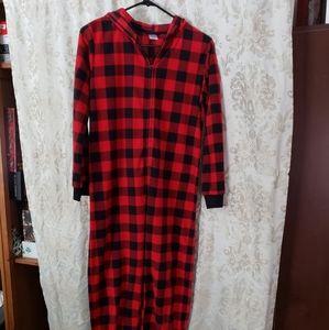 Hooded Onesie Buffalo Plaid Pajamas